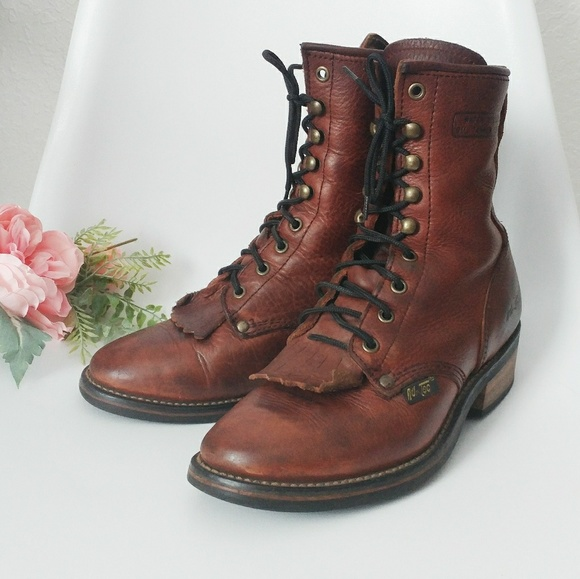 a51676075a333 80-90s Vintage Leather Lace Up Western Boots 7.5